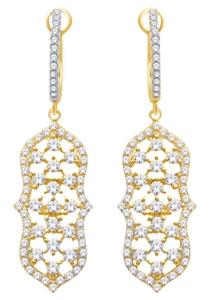 1.62 Karat Rundschliff Weißszlig; natürlicher Diamant Baumeln Ohrringe in 14 ct 585 Massiv Weißszlig; Gold 14 Karat (585) GelbGold