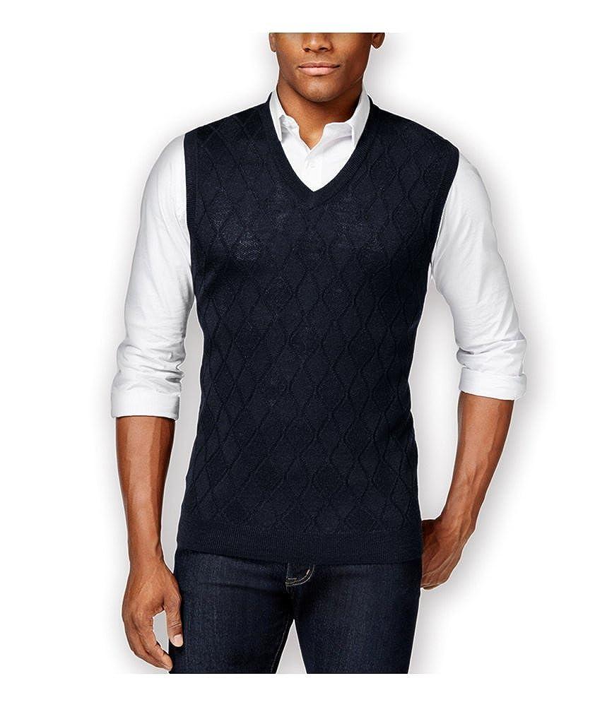 Club Room Mens Merino Textured Argyle Sweater Vest 29314BNB28