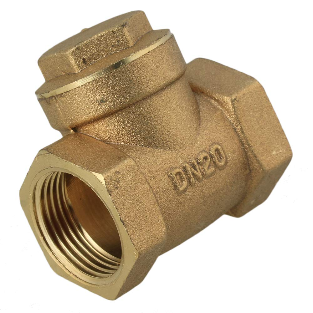 10pcs Brass 3//4 BSPP Swing Check Valve Two-Way Channel Manual Operation