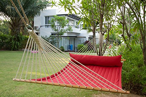 Hammock Outdoor Quilted Cotton Fabric Beach Rope Hammocks Swing Bed Back Yard with Pillow New Red -  - patio-furniture, patio, hammocks - 614fjWwVx1L -