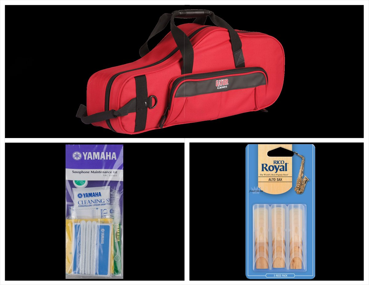 Alto Music Back to School Alto Sax Bundle with Red Gator Case and 2.0 Reeds Also Includes a Yamaha Alto Saxophone Maintenance Cleaning Kit and Rico Royal 3 Pack of Alto Sax Ree