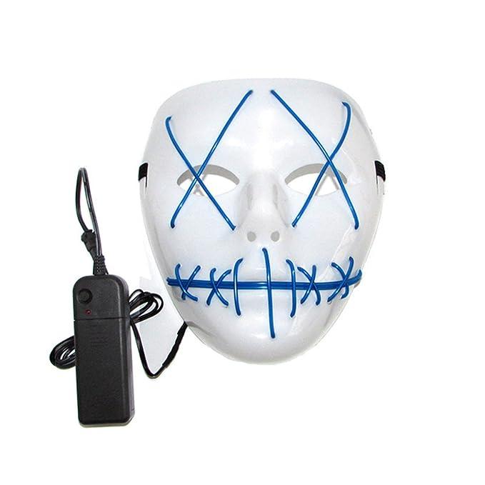Amazon.com: Scary Mask Halloween Cosplay Led Costume Mask EL Wire ...