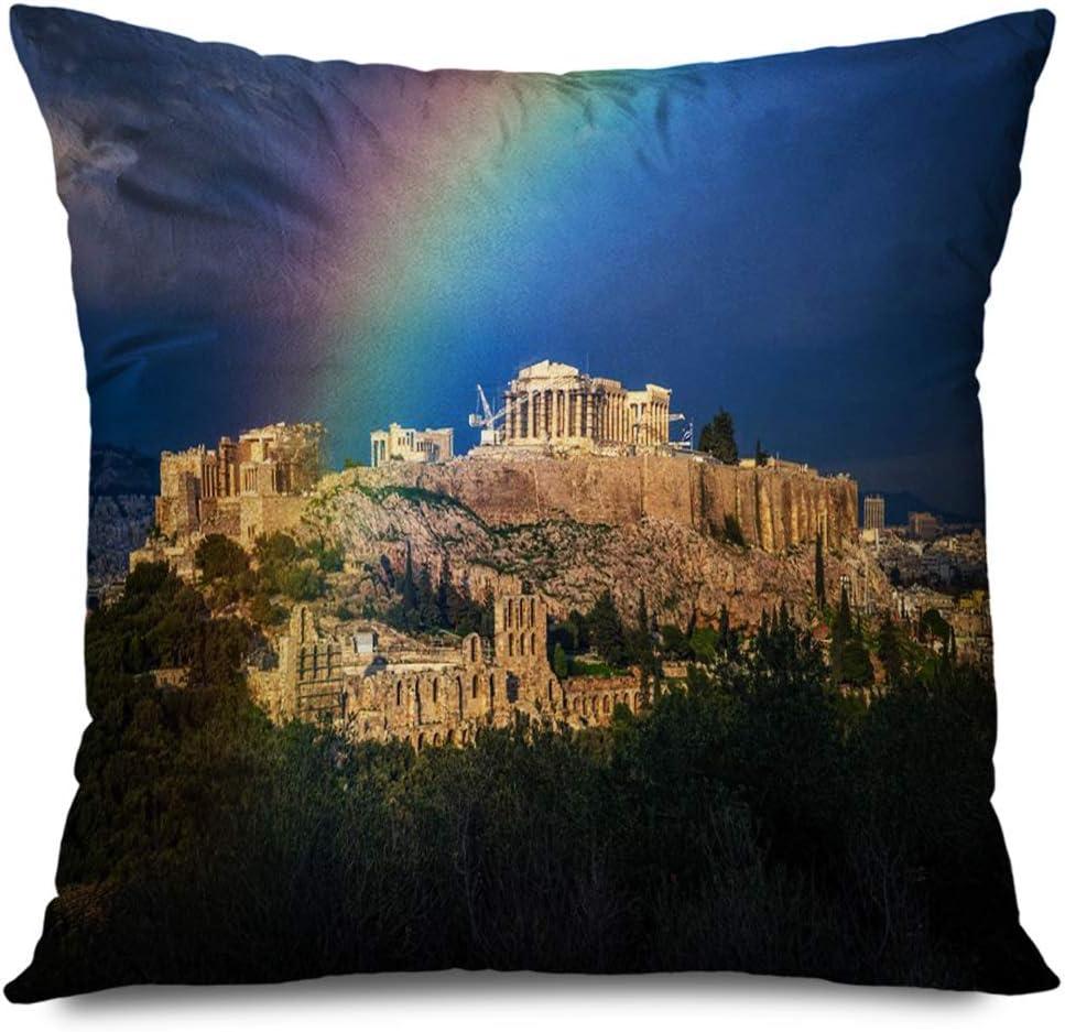 LXJ-CQ Funda de Almohada Cuadrada 18x18 Acrópolis Atenas Hermosa Ciudad Plaka bajo Arco Iris Azul Monumentos Parques Ruinas de Vacaciones Funda de Almohada con Cremallera al Aire Libre