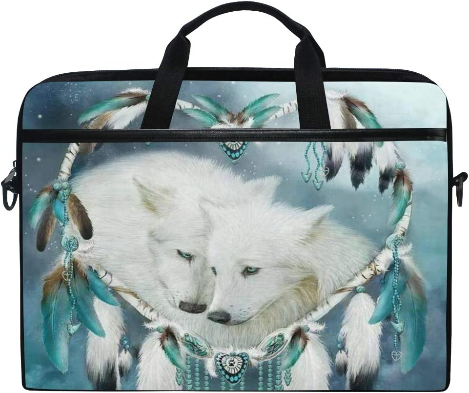 ALAZA Dreamcatcher Wolf 15 inch Laptop Case Shoulder Bag Crossbody Briefcase Messenger Sleeve for Women Men Girls Boys with Shoulder Strap Handle, for Her Him
