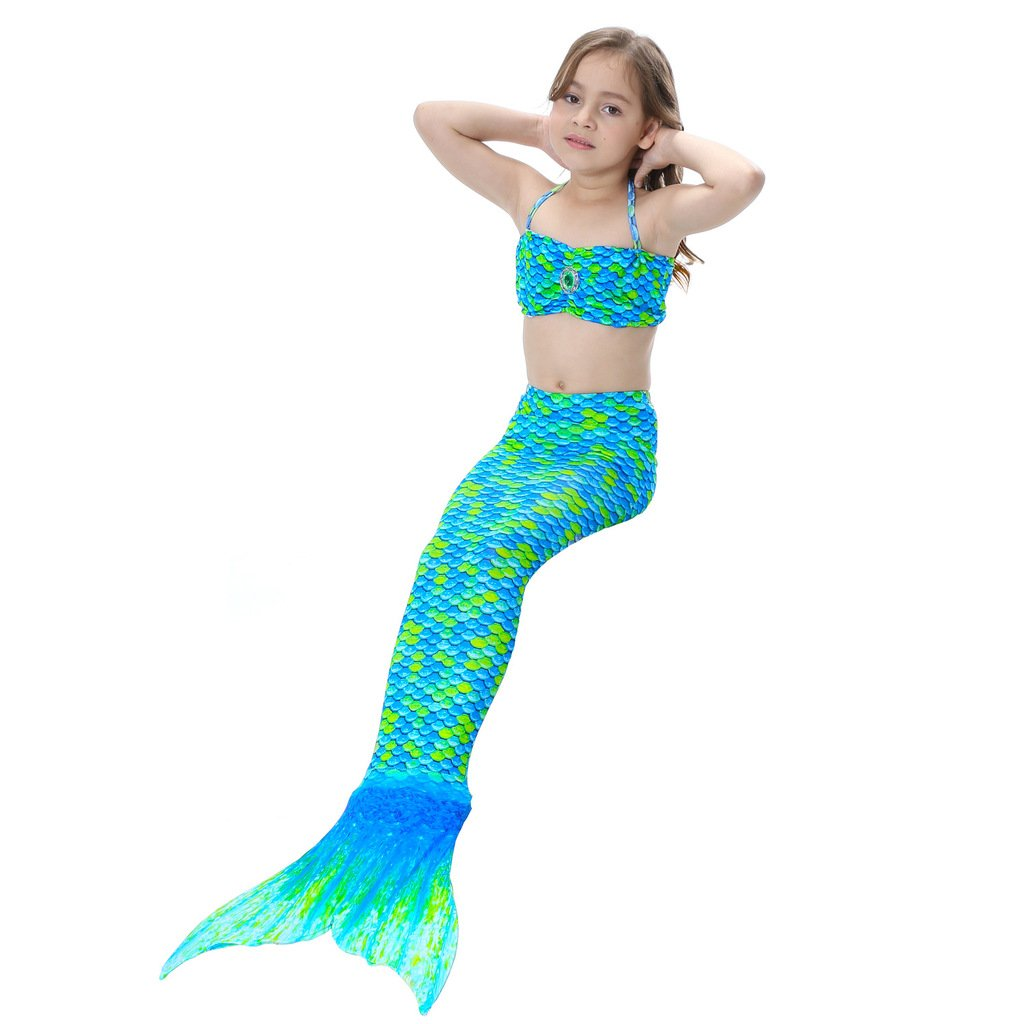 Deylay Baby Girls 3 Pcs Princess Mermaid Tail Swimwear Swimsuit Bikini Set B170312GB04