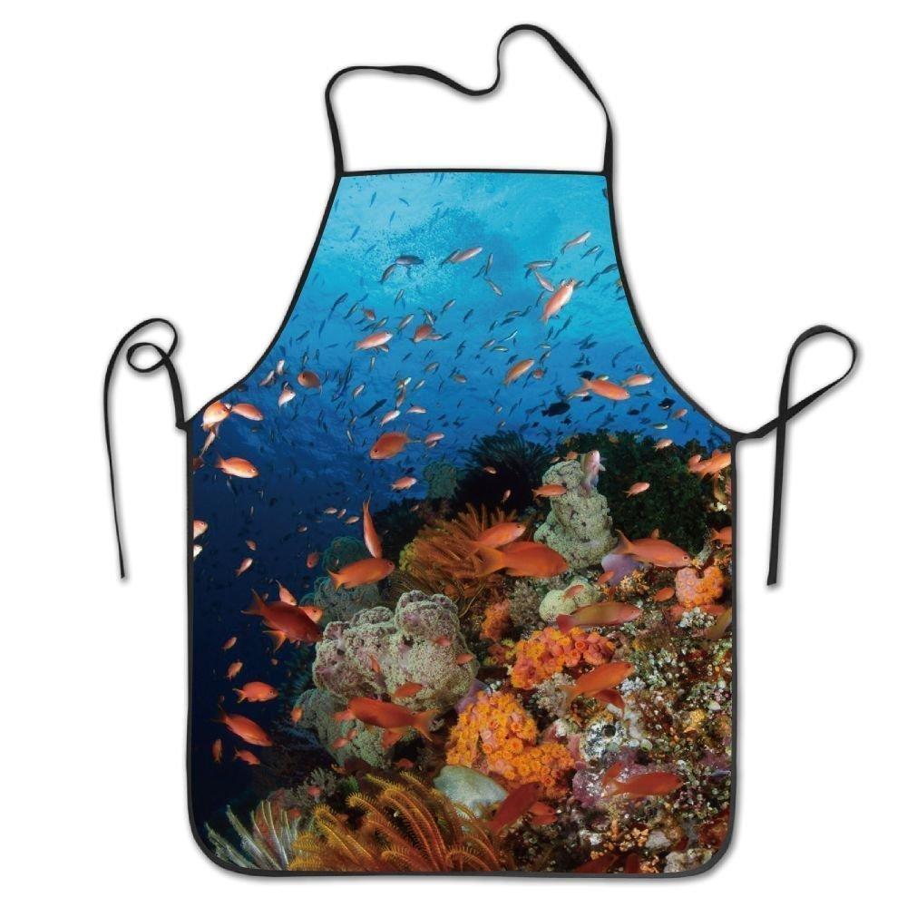 ユニセックスキッチンエプロンカラフルな魚Underwater Worldシェフエプロン料理エプロンバーベキューエプロン   B07DHDKVXN