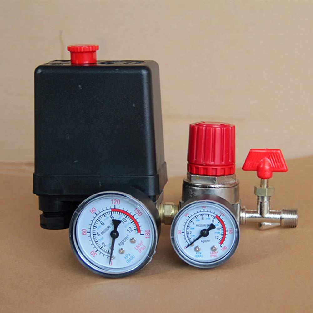 AC Regolatore aria regolabile Compressore valvola Quattro fori 90-120PSI Controllo pressostato compressore daria piccolo 20A 240V