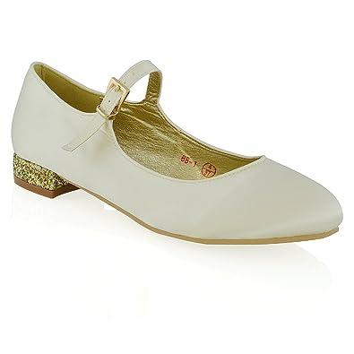 ESSEX GLAM Womens Bridal Shoes Glitter Heel Bridesmaid Ladies Evening Satin Wedding Pumps