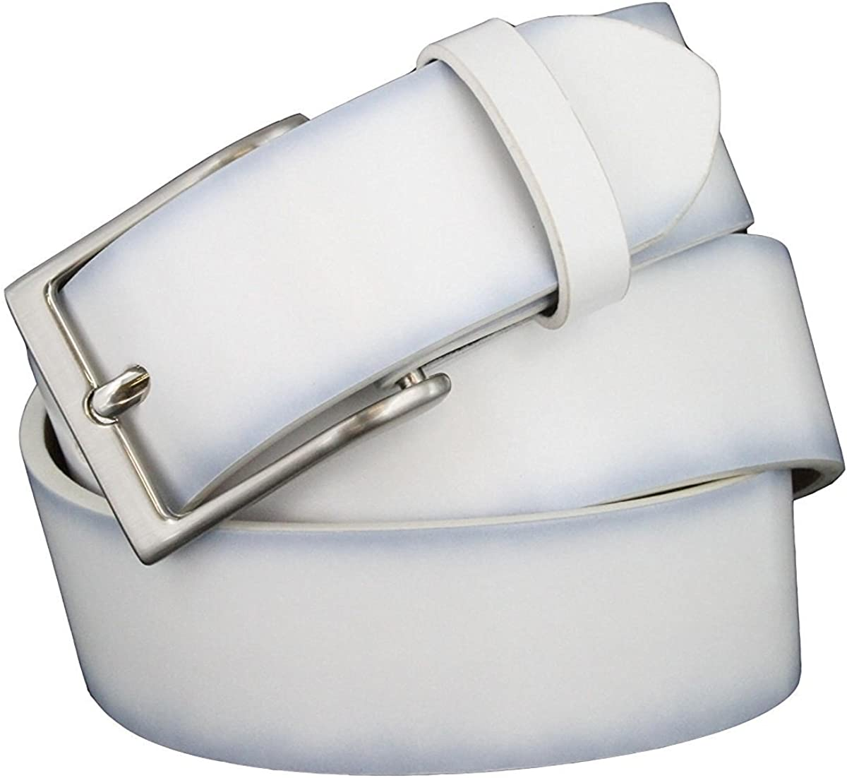 Hagora Men 1.5 Wide Smooth Full Genuine Leather Metal Roller Buckle Belt
