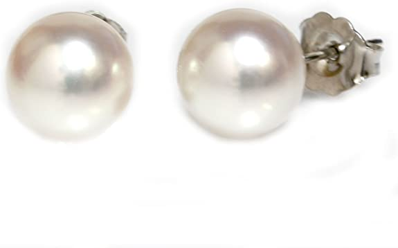 Natural flawless button creamy akoya pearl solid 14k gold studs earrings not 9ct