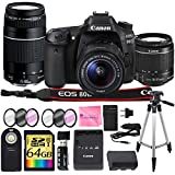 Canon EOS 80D Digital SLR Camera + CANON 18-55mm + CANON 75-300mm III Lens + SD Card Reader + 64gb SDXC + Remote + Spare Battery + Camera Works Accessory Bundle + Microfiber Cloth