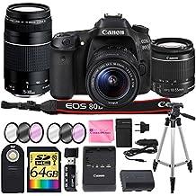 Canon EOS 80D Digital SLR Camera + CANON 18-55mm + CANON 75-300mm III Lens + SD Card Reader + 64gb SDXC + Remote + Spare Battery + Camera Works Accessory Bundle + Microfiber Cloth