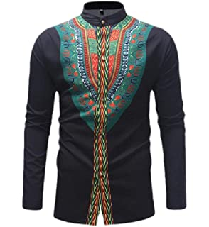 Cromoncent Mens Casual Long Sleeve Stand Collar African Dashiki Print T-Shirts
