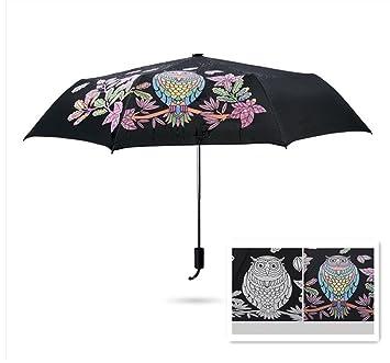 GenialES Paraguas Mágicas Cambia Color Plegable Ligera Anti-UV Cortavientos para Sol Lluvia Cambiar del