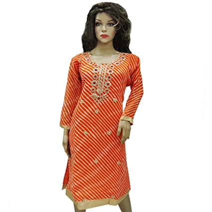 Ratnatraya Leheriya Cotton Silk Orange Kurti For Women Party Wear