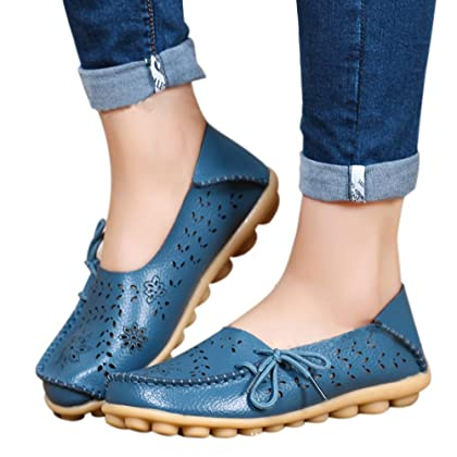 ec31bb18f86 ... SHIBEVER Women s Leather Loafers Moccasins Wild Driving Casual Flats  Oxfords Breathable Shoes