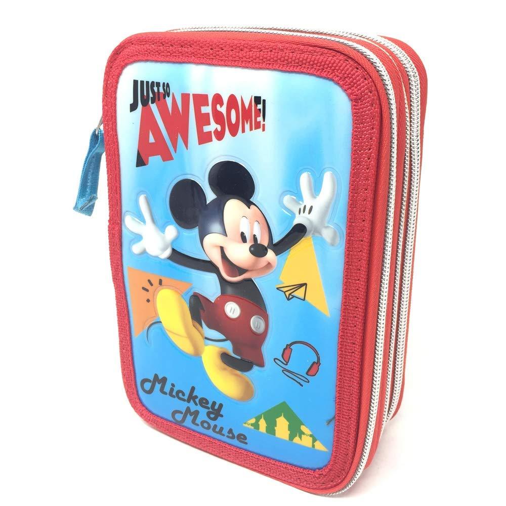 20X13X6 MIC0471 Astuccio Scuola Topolino Mickey Mouse Disney 3 Zip//Cerniere Porta Colori Carioca CM
