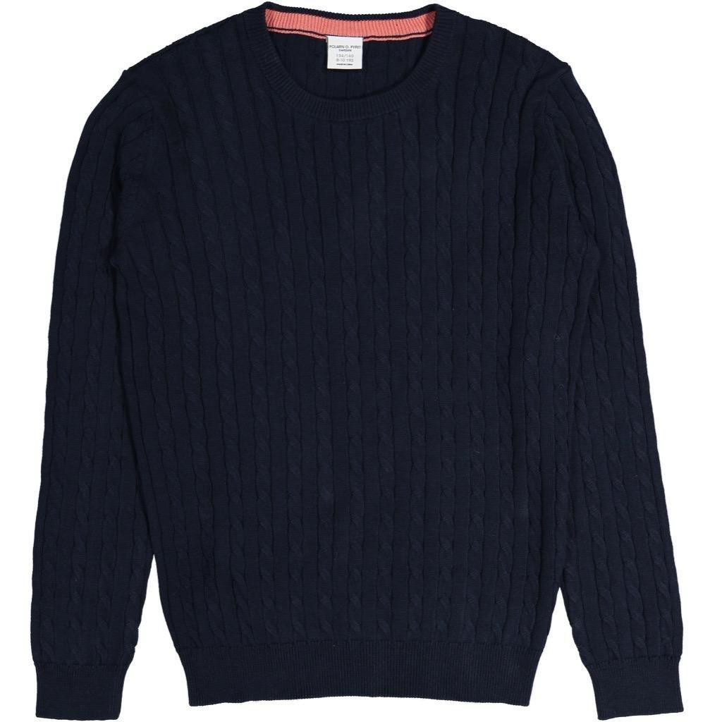 Polarn O. Pyret Textured Stripe Pullover (6-12YRS) - 8-10 Years/Dark Sapphire