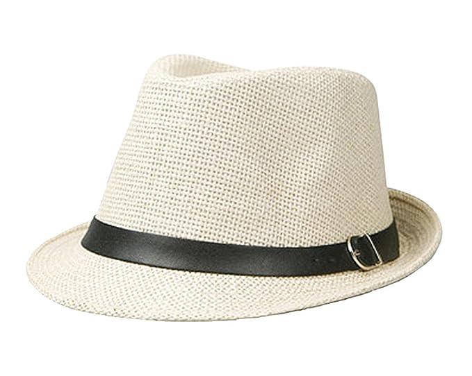 43de91ff4 missfiona Mens Braided Fedora Summer Beach Hat with Roll-up Brim Leather  Band(Beige