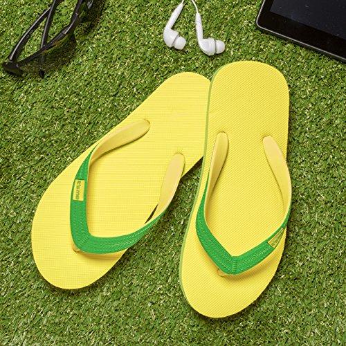 its me It´s Me | Flip Flop | Jetzt Aus Natur-Kautschuk | 0% PVC | Rutschfest und Weich | gesundheitlich unbedenklich | Kautschuk Passt Sich der Form Deines Fußes An | Fühle Den Unterschied ! Gelb / Grün