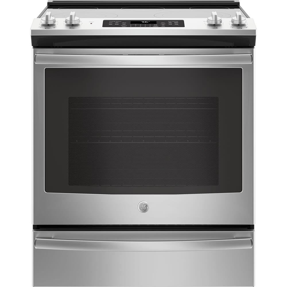GE JS760SLSS 30 Inch Slide-in Electric Range with Smoothtop Cooktop, 5.3 cu. ft. Primary Oven Capacity, in Stainless Steel G.E.