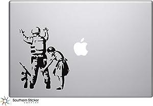 Banksy Soldier and Girl Vinyl Car Sticker Symbol Silhouette Keypad Track Pad Decal Laptop Skin Ipad Macbook Window Truck Motorcycle (Black)