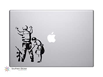 Banksy soldado y niña vinilo adhesivo coche de silueta de símbolo Teclado pista Pad de vinilo Skin para ordenador portátil iPad MacBook ventana camión ...
