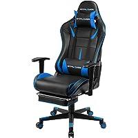 GTPLAYER Gaming Stuhl Racing Stuhl Kunstleder Bürostuhl höhenverstellbarer Schreibtischstuhl Ergonomisches Design mit Fußstütze und Wippfunktion