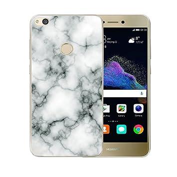 ZXLZKQ Carcasa Súper Delgado Negro Blanco Natural Mármol 3D TPU Gel Cubierta De Silicona Funda Tapa para Huawei P8 Lite 2017 (no para Huawei P8 Lite ...