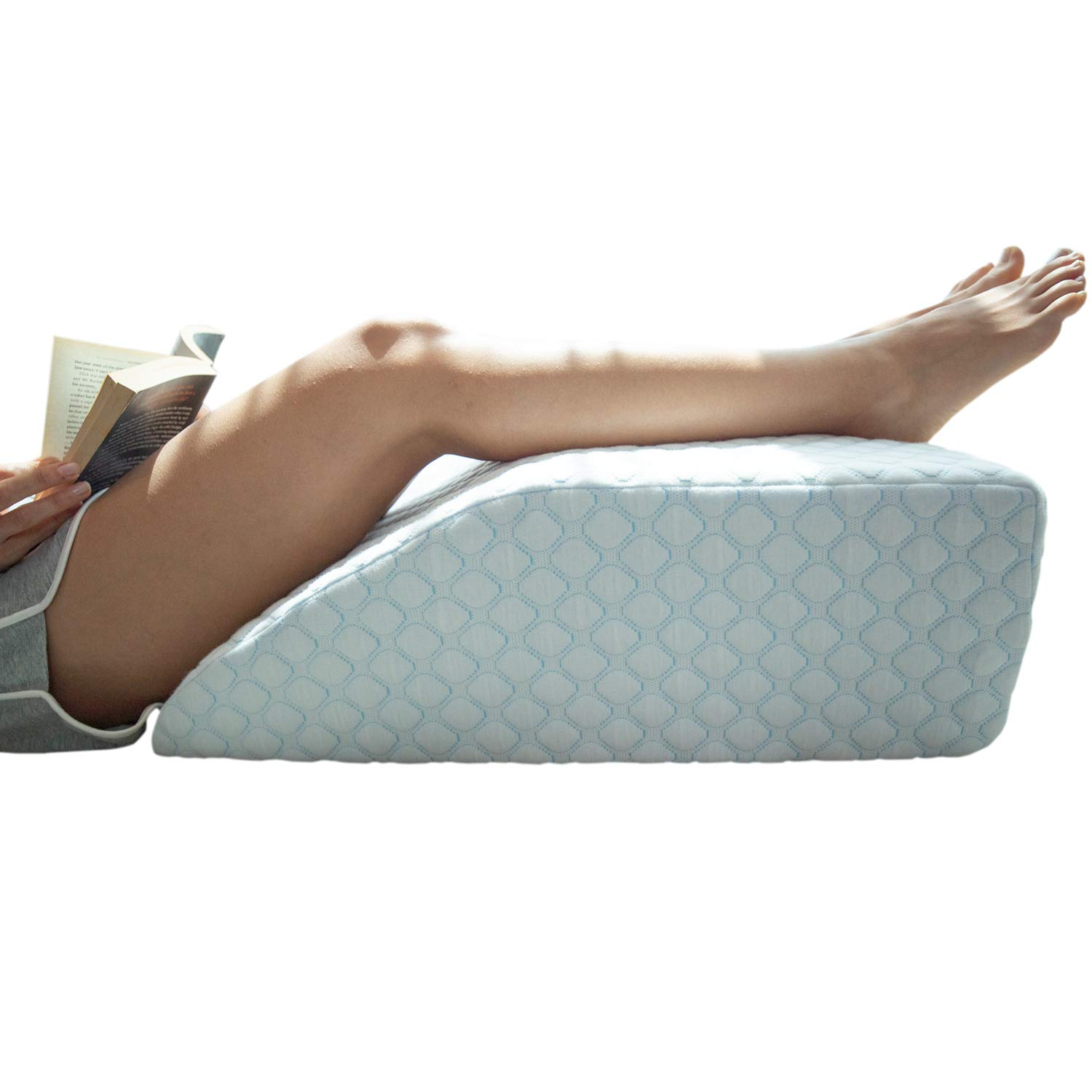 Elevating Leg Rest Pillow with 1.5 Inch Memory Foam Top, (23.6 x 16.5 x 8 Inches), Removable and Washable Cover, Perfect for Back, Hip and Knee Pain Relief, LENORA 8 Inch Leg Elevator by Lenora