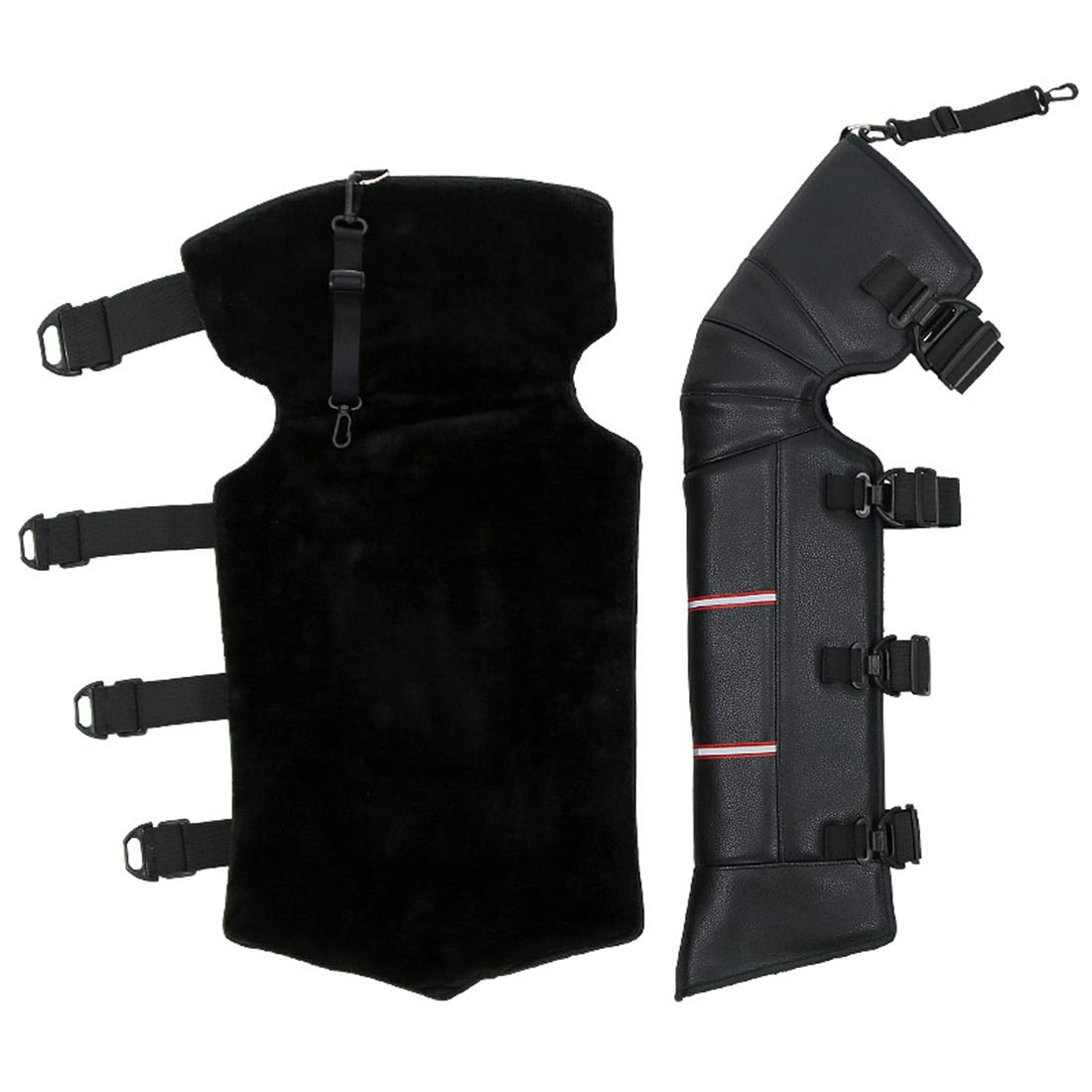 nero protezione di sicurezza di qualit/à multifunzione supporto professionale Ripristino mo Protezioni per gambe Long Knee Pad Nero regolabile protettivo PU impermeabile antivento parastinchi per moto
