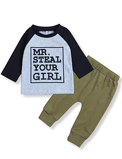 bdf5c6b49a029 Toddler Baby Infant Boy Clothes Mr Steal Your Girl Tops +Camouflage Pants  Outfit Set