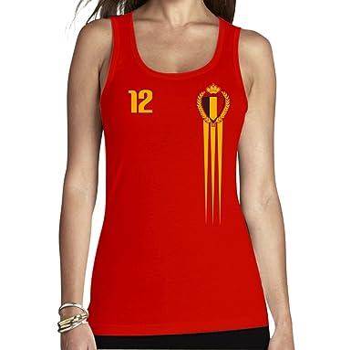 e63e0023a5fc Shirtgeil België Belgien Fantrikot für Frauen zur Fußball WM Frauen Tank Top   Amazon.de  Bekleidung