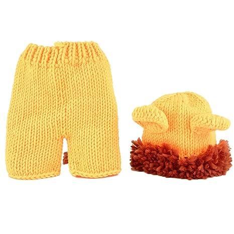Traje de lana recién nacido Forma animal Amarillo Pequeño ...