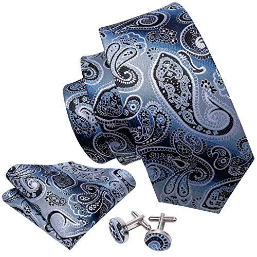 Barry.Wang Designer Silk Tie Hanky Cufflinks Paisley Set Woven,Blue and Black,One -