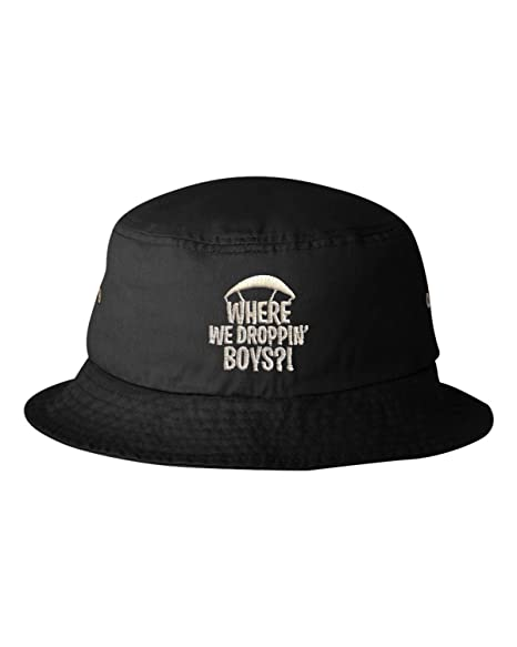 54a9ba76180bf Amazon.com  Go All Out One Size Black Adult Where We Droppin  Boys  Embroidered Bucket Cap Dad Hat  Clothing