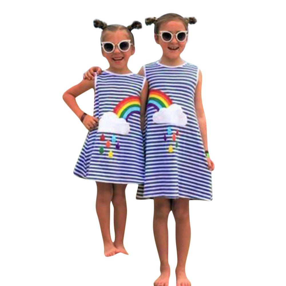Girls Rainbow Beach Boho Dress Little Kids Stripe Loose Dress Shirts for Summer Twin Clothing Yamally (5-6 Years Old, Blue #2)