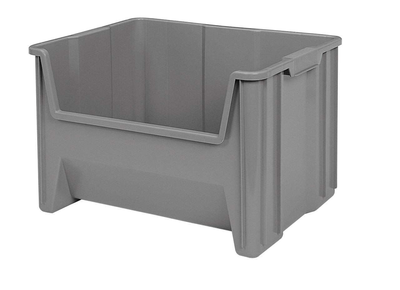 Akro-Mils 13017 Stak-N-Store Stacking Hopper Front Plastic Storage Bin, Grey, Case of 3 by Akro-Mils
