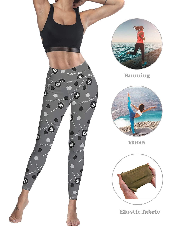 Monroda Womens High Waist Leggings Party Yoga Running Happy Halloween Trick Treat