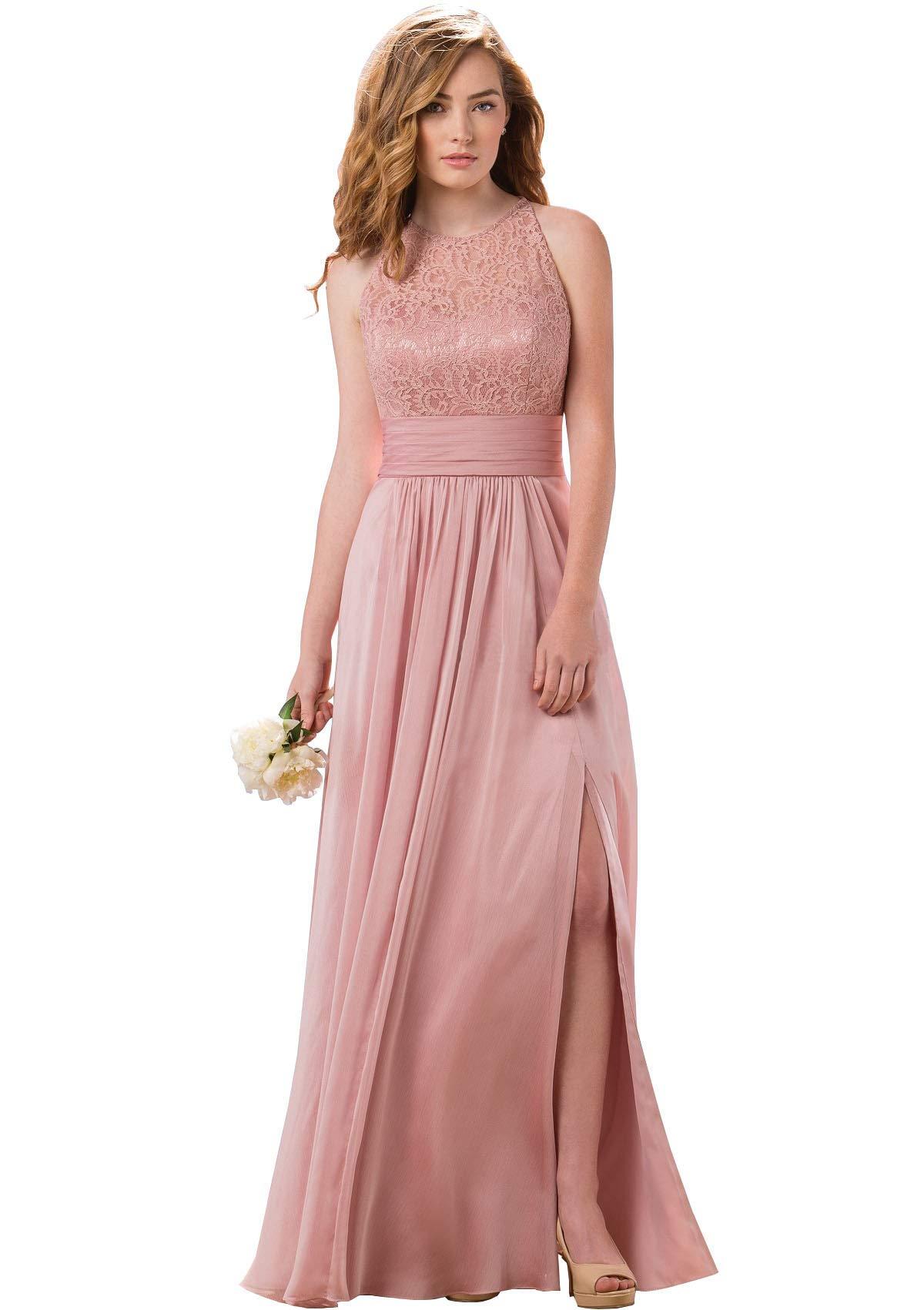 Women S Halter Slit Lace Chiffon Bridesmaid Dress Long Backless Wedding Guest Dress Dusty Rose Us2