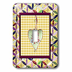 Beverly Turner Heart Design - Petal Shaped Quilt Look, Frame, Yellow Cloth Look Rose Heart, Ribbon - Light Switch Covers - single toggle switch (lsp_236957_1)