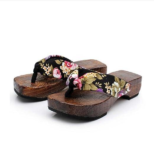 6cf21f45ffb Tootu Fashion Casual Platform Shoes Wood Women Sandals Clog Wooden Slippers  Flip Flops (37