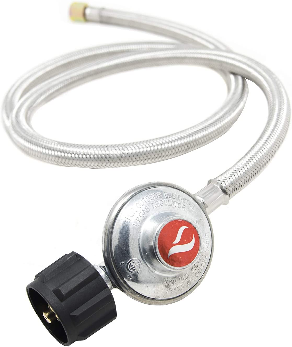GasOne 2107-05 for Most LP Gas Grill, Heater Propane Regulator 5 Feet Steel Hose with