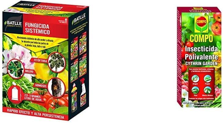 Fitosanitarios - Fungicida sistémico Caja 250g - Batlle + Compo Cythrin Garden Insecticida Polivalente, para Plantas hortícolas, arbustos y Ornamentales