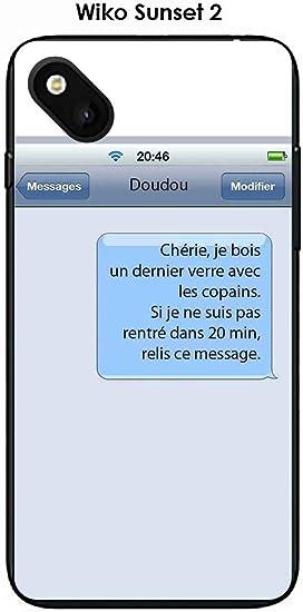 Coque Wiko Sunset 2 design Texto Cherie: Amazon.fr: High-tech
