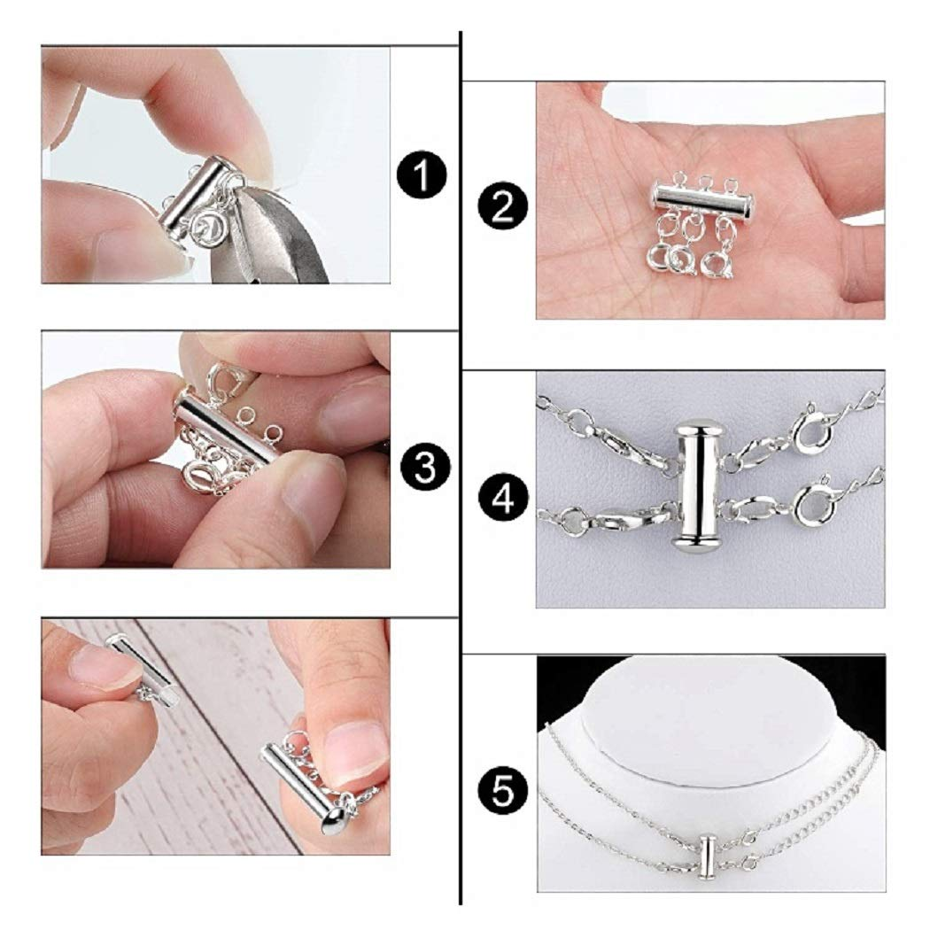 14pcs, Gold and Silver 4 Sizes Slide Clasp Lock Necklace Connectors Multi Strands Tube Spacer Clasps and Necklace Bracelet Chain Extenders for Layered Jewelry