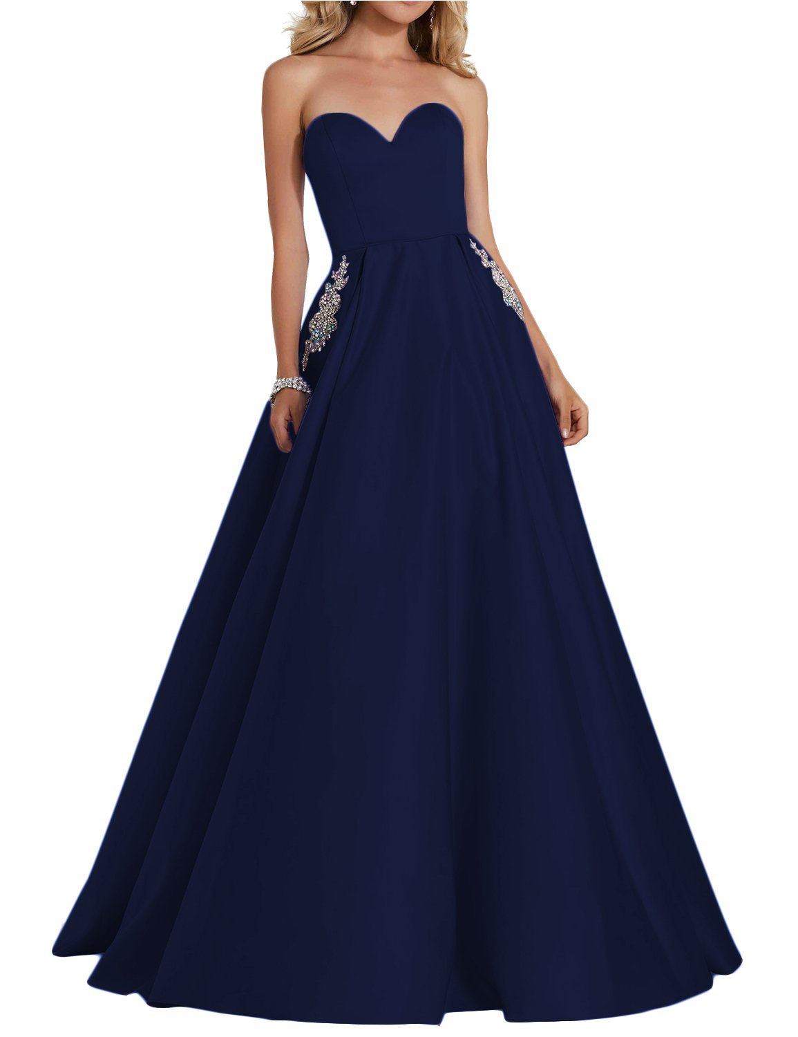 YIRENWANSHA 2018 Evening Dresses Plus Size Empire Waist Strapless Bodycon  Manual Beaded Formal Gowns With Pockets Full Length Elegant Sweetheart Prom  ...