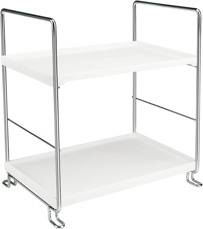 Phineoly Corner Shelf Organizer, 2-Tier Bathroom Countertop Organizers, Vanity Trays for Counter, Silver