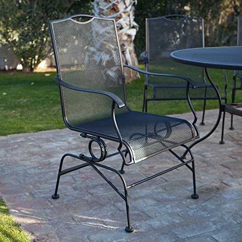Belham Living Stanton Wrought Iron Coil Spring Dining Chair by Woodard - Set of 2 - Textured Black (Wrought Patio Iron Furniture Cushions Discount)