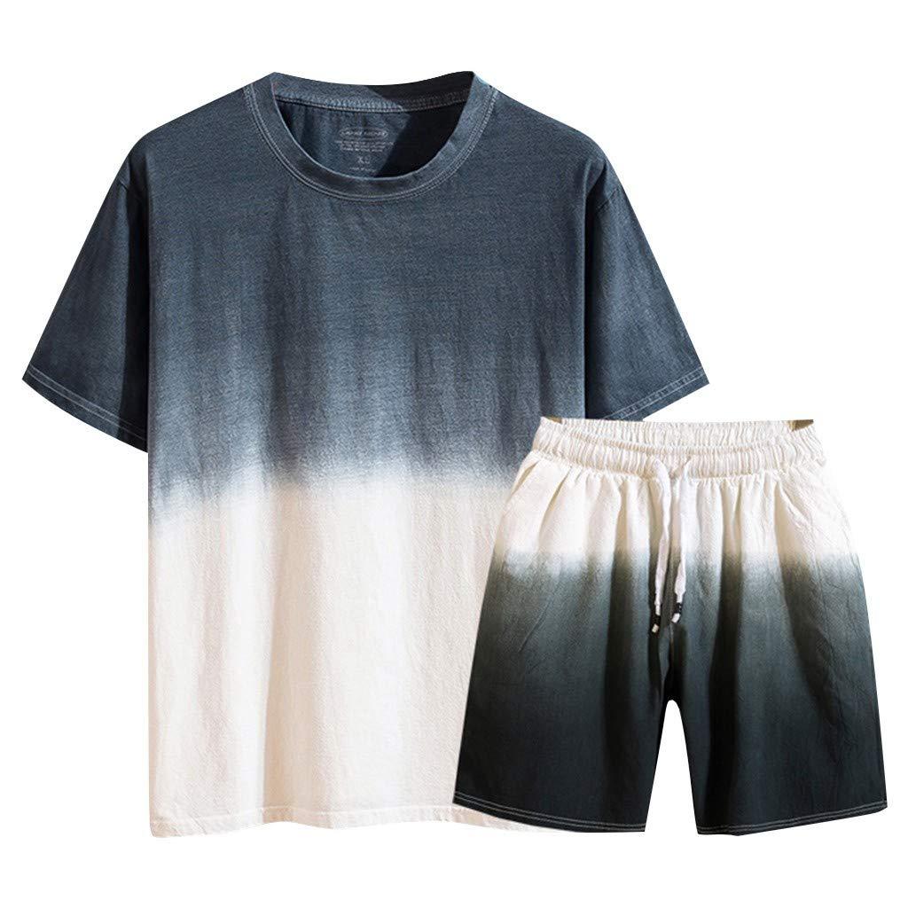 TIFENNY Casual Summer Sport Sets for Men New Cotton Linen Short Sleeve Shorts Pants Fashion Gradual Color Suit Loose Tops Gray